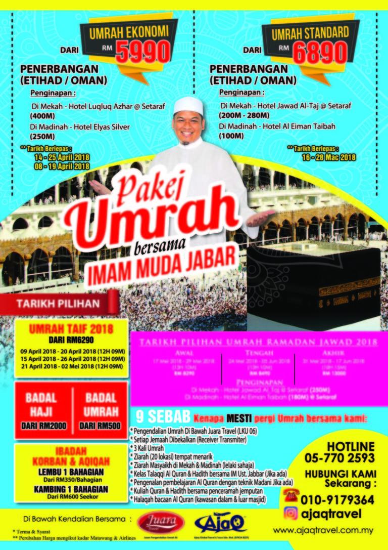 Pakej Umrah Mampu PERGI 2018 !!